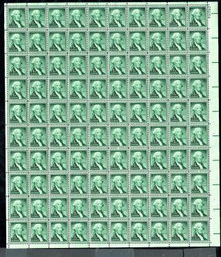 Oddlots: Us Sheet Scott 1031,  M,  Nh,  Pane Of 100,  1¢ Washington,  Dry Printing photo