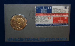 1974 American Revolution Bicentennial Medallion W/ Fdc Envelop - photo