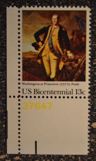 Us1977 1704 13c Washington At Princeton Plate Number Single Nh Vf photo