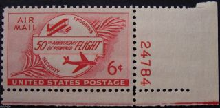 Stamp Us 6c 50th Anniversary Of Powered Flight,  (air Mail) Cat.  C47 Nh/og photo
