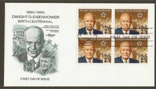 2513 25c Eisenhower Birth Centennial - Artmaster Fdcb4 photo
