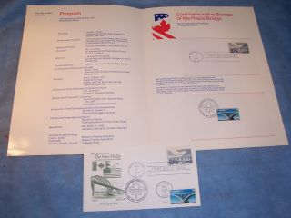 Peace Bridge 50th Anniversary Fdc Artmaster Cachet Usa Canada Ceremony Program photo