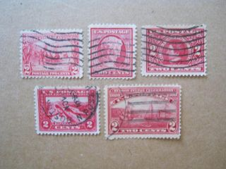 Scott Vf 329,  367,  370,  372,  & 398 (5) 2c Comm Of 1907 - 08/ Cat $24++v photo