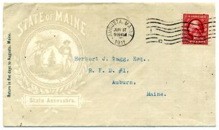 Scott 332 On An Illustrative Cover From The State Of Maine,  1911,  State Assesor photo