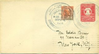 1926 Cam Flight Cover 13n3b Philadelphia To York,  Black Cachet Prapid Transit photo