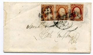 Three Sc 26 On Cover From York To Little Compton,  Ri,  1858,  One Pair photo