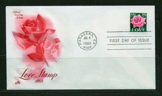 First Day Cover Love Stamp 25c ' Pink Rose ' Scott 2378 Artcraft Fdc 1988 photo