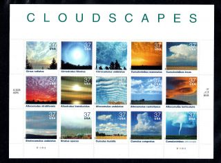 Oddlots: Us Sheet Scott 3878, ,  Never Hinged,  Pane Of 15,  37¢ Cloudscapes photo