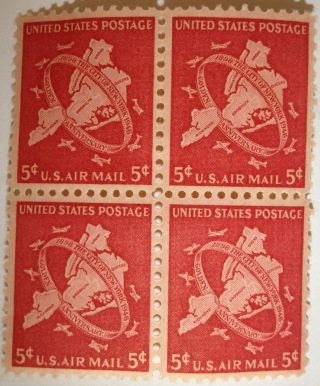Scott C38 Us Air Mail 5c York City Block Of 4 Cv=$1.  40 photo