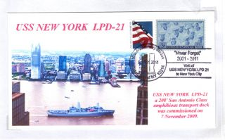 Uss York Lpd - 21 Amph Transport Dock Colorphoto Cachet Staten Island Postmark photo
