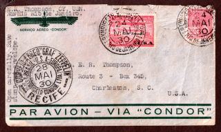 Graf Zeppelin 1930 Brazil Cover May 24,  Rio To Charleston S.  C.  Condor photo