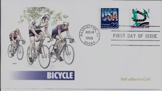 Bicycle,  Scott No.  2606 & 3228 Self Adhesive Coil Fleetwood Fdc photo