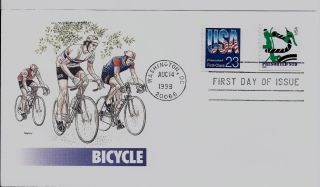 Bicycle,  Scott No.  2606 & 3229 Coil Fleetwood Fdc photo