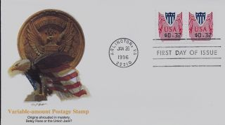 Variable - Amount Postage Stamp,  Scott No.  Cvp33 Coil Fleetwood Fdc photo