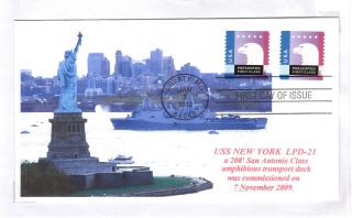 Uss York Lpd - 21 Amph Transport Dock Colorphoto Cachet First Day Postmark photo