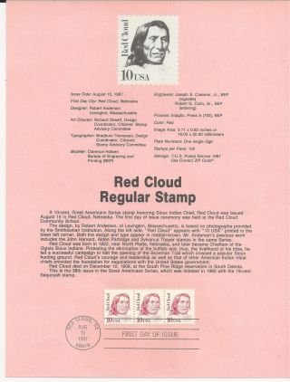 2175 Red Cloud,  Sioux Indian Chief,  Great American Series 1987 Souvenir Page photo