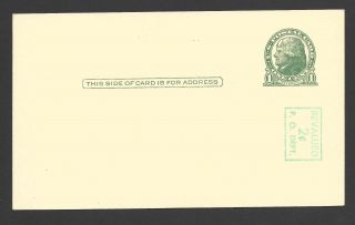 Ux39a (s56 - 3) 2c On 1c Thomas Jefferson,  Surcharge Reading Down,  Postal Card photo