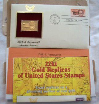 1983 Philo T.  Farnsworth American Inventors 22k Gold Replica Stamp photo