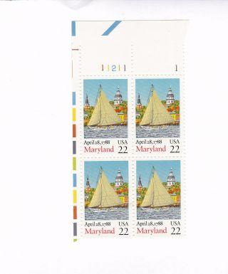 Scott 2342,  Maryland,  Plate Block Of 4,  1988 Issue,  Mnhog photo