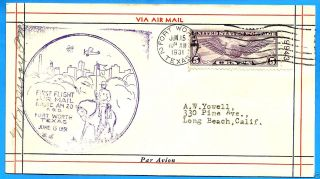 Cam20,  20e15,  Fort Worth - East,  1931 Colonial Air Airmail 1st Flight Cover photo
