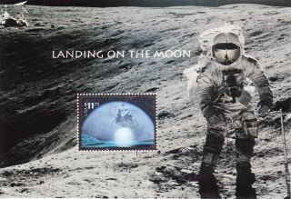 Landing On Moon Souvenir Sheet With Express Mail Hologram Stamp Scott 3413 photo