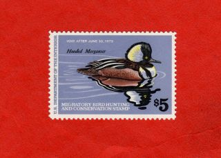 Rw45,  1978 Federal Duck Stamp; Mnh; Albert Earl Gilbert,  Hooded Merganser photo