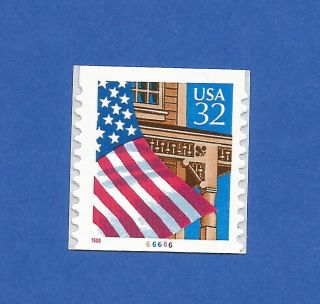 Us 2915c Flag Over Porch Single Stamp Coil With Plate 66666 Never Hinged photo