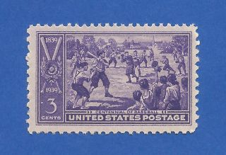 Us 855 Baseball Centennial Single Stamp (dull Gum Or No Gum) Never Hinged photo