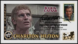 Charlton Heston. . .  Legends Of Hollywood. . .  Julius Caesar Fdc B23 photo