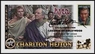 Charlton Heston. . .  Legends Of Hollywood. . .  Julius Caesar Fdc B24 photo