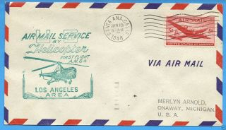 Am84,  84 - 31,  Santa Ana,  Cal.  - 1948 Ffc L.  A.  Area Helicopter Mail photo