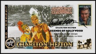 Charlton Heston. . .  Legends Of Hollywood. . .  Antony & Cleopatra Fdc B32 photo