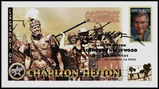 Charlton Heston. . .  Legends Of Hollywood. . .  Antony & Cleopatra Fdc B33 photo