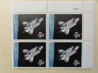 Us Scott 2544b Space Shuttle $3 Plate Block 4 Og photo