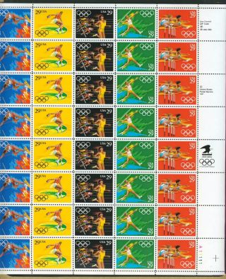 Us Stamp 1992 Olympics Complete Pane Of 40 Scott 2553 - 2557 And photo