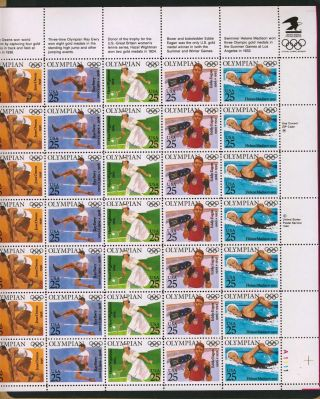 Us Stamp 1990 Olympians Complete Pane Of 35 Scott 2496 - 2500 photo
