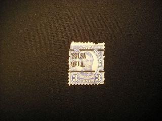 Very Rare 555 Lincoln 3c In Blue Tulsa Overprint Perf 11 Horz & Vert photo