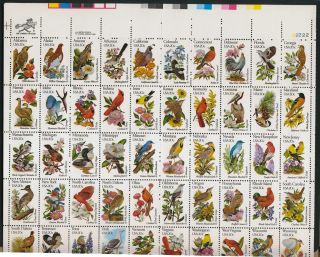 Us Stamp 1982 Birds And Flowers Complete Pane Of 50 Scott 1953 - 2002 photo