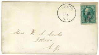 Union To Ithaca,  York Bank Note Cover Fancy Cancel photo