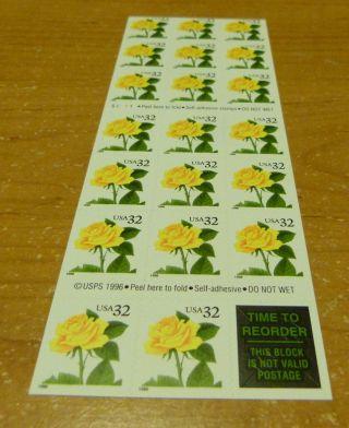 3049a Yellow Rose Pane Of 20 photo