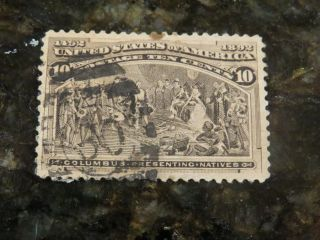 1893 10 - Cent Columbus Presenting Natives 30 Cancel (scott Cat 237) photo