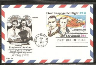 Us Sc Uxc19 First Transpacific Flight Fdc.  Artmaster Cachet photo