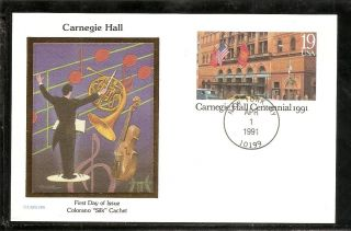 Us Sc Ux154 Carnegie Hall Centennial Fdc.  Colorano Silk Cachet photo