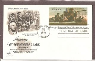 Us Sc Ux78 George Rogers Clark,  Vincennes.  Postal Card Fdc.  Artcraft Cachet photo
