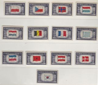 Us - 909 - 921 - Overrun Countries Flags - 1943 - 44 - B3482 photo