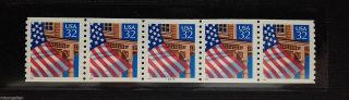 Scott Us 2913 Flag Red Date 32c Pnc5 Plate Number Coil 5 P 33333 Mvfnh Bv=$8.  75 photo