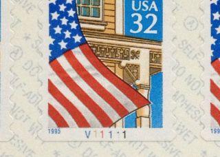 Scott 2915 Us 32c Flag Die - Cut 8.  7 Pnc5 Plate Number Coil 5 P V1111 Bv=$20.  50 photo