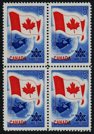 Canada 453 Block Flag,  Centennial Of Confederation,  Map photo