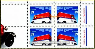 Canada 1990 Moving Post Mail Fv Face $1.  56 Stamp Block W/ Selvedge photo