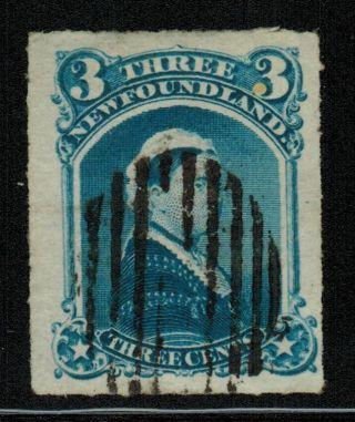 Canada Nfld 39 1877 3¢ Qv Roulette Vf Cv$14.  00 photo